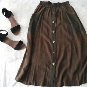 Long Vintage Button Down Skirt // MZM Sport